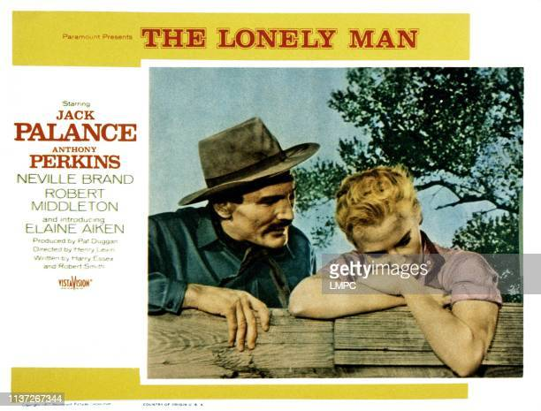 The Lonely Man lobbycard from left Jack Palance Elaine Aiken 1957