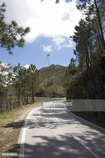 The long and windy road passes a wind turbine on the way towards Piódão which is a small village of less than 200 inhabitants resting on the slopes...