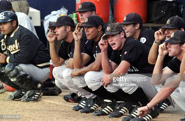 The Long Beach State 49ers Dirtbags take part in a dugout tradition in a 5 to 1 victory over the National Champion Cal State Fullerton Titans on May...