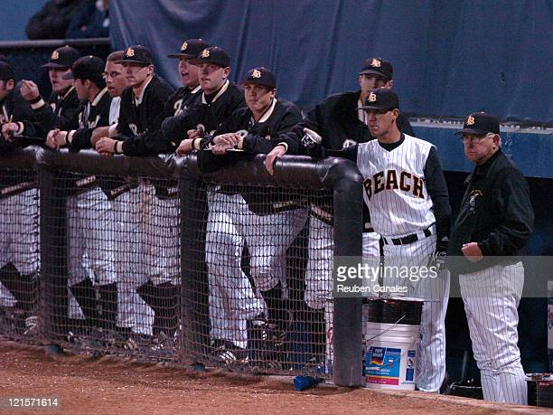 The Long Beach State Dirtbags dugout in a 14 to 1 win over the UCLA Bruins on February 20 2007 at Blair Field in Long Beach California