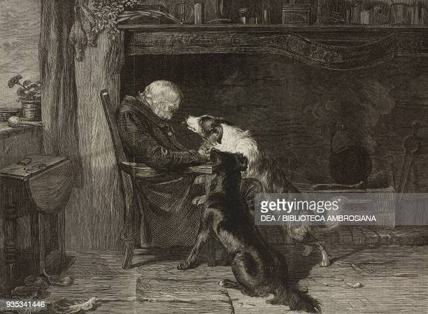 The long sleep an old man with two dogs engraving from a painting by Briton Riviere illustration from the magazine The Illustrated London News volume...