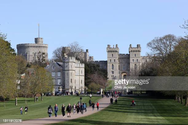 The Long Walk at Windsor Castle on April 11, 2021 in Windsor, England. The Queen announced the death of her beloved husband, His Royal Highness...