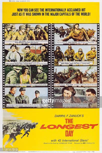 The Longest Day, poster, left from top: John Wayne, Stuart Whitman, Tom Tryon, Steve Forrest, Peter Lawford, R. Todd, K. More, I. Demick, W. Hinz, C....