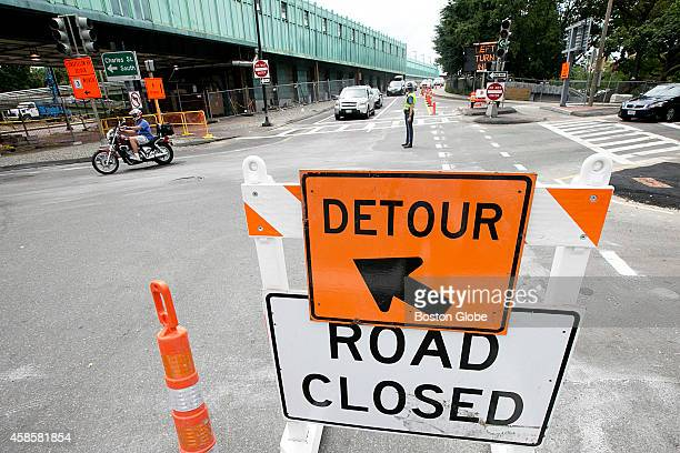 The Longfellow Bridge was photographed as it closed the inbound lane to Boston for renovations on July 21 2013 A detour sign directed cars away from...