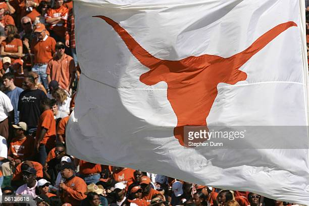 The longhorn flag of the Texas Longhorns waves in the crowd during the game against the Baylor Bears on November 5 2005 at Floyd Casey Stadium in...