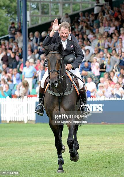The Longines King George V Gold Cup Tim Stockdale GBR riding First Direct Kalico Bay moments after winning the event in a jump off round