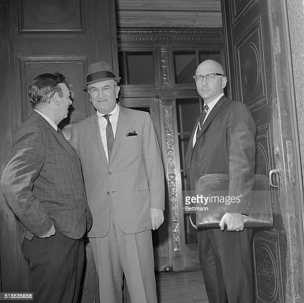 The longmissing Mafia leader Joseph Bonanno pauses to talk to UPI reporter Robert Evans on the steps of federal courthouse here as he arrives to...