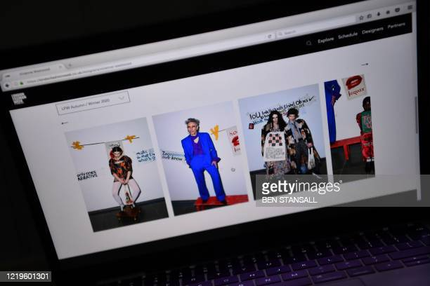 The lookbook for British fashion designer Vivienne Westwood's Autumn/Winter 2021 collection is displayed on the London Fashion Week website in London...
