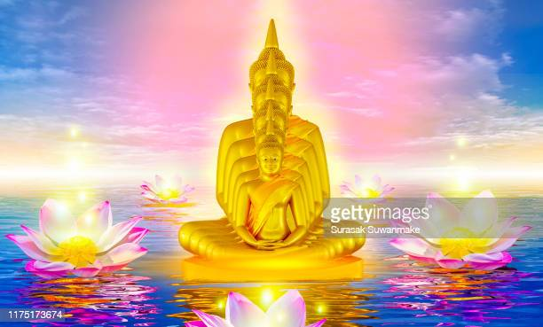 the lord buddha meditated gracefully on a lotus flower with an orange background. (about buddhism) - mandalas india stock pictures, royalty-free photos & images
