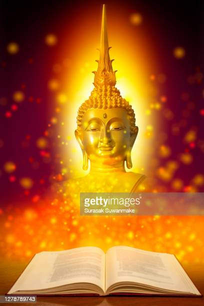 the lord buddha meditated gracefully on a lotus flower with an orange background. (about buddhism) - arte stock pictures, royalty-free photos & images