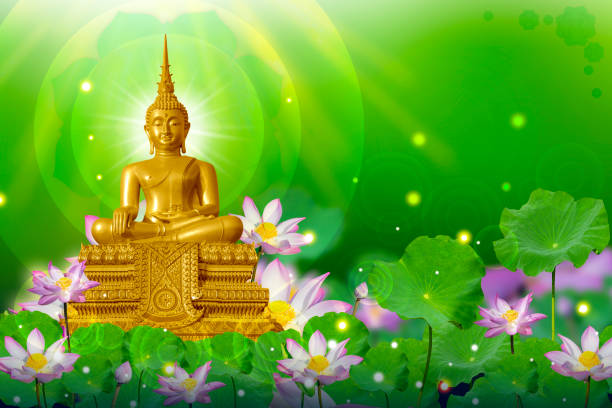 the lord buddha meditated gracefully on a lotus flower with an orange background. (about buddhism) - buddha vector stock pictures, royalty-free photos & images