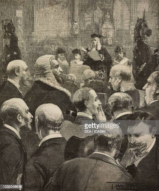 The Lord Chancellor reading the Queen's speech Opening of Parliament London United Kingdom engraving from The Illustrated London News volume 97 No...