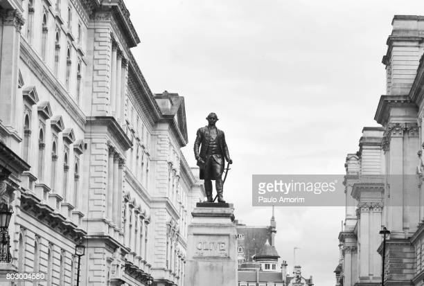the lord clive statue in london - whitehall london stock photos and pictures