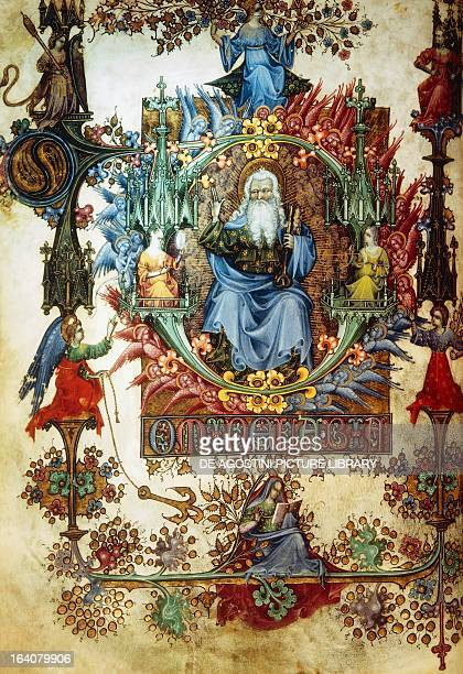 The Lord in majesty and virtue miniature from the Offiziolo Visconti manuscript LF 22 folio 10 recto Italy 15th century Florence Biblioteca Nazionale...