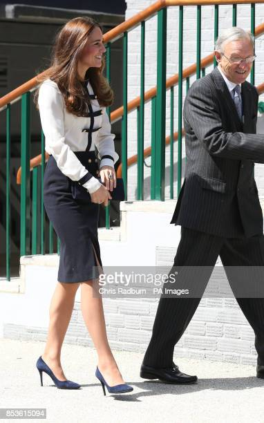 The Lord Lieutenant of Buckinghamshire Sir Henry AubreyFletcher greets the Duchess of Cambridge as she arrives for a visit to Bletchley Park in...