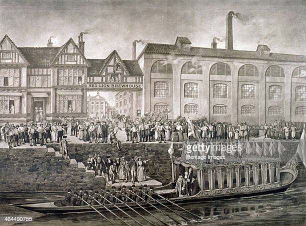The Lord Mayor at the Red Lion Brewhouse St Katherine's Way London c1703 c1850 Sir John Parsons leaving for Westminster by barge
