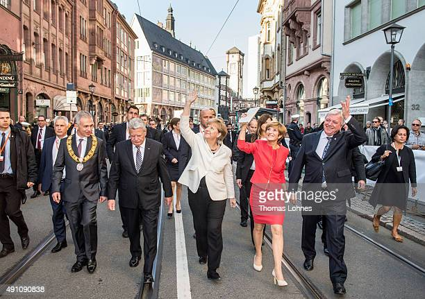 The Lord Mayor of Frankfurt am Main Peter Feldmann, German President Joachim Gauck, German Chancellor Angela Merkel, Ursula Bouffier and Prime...