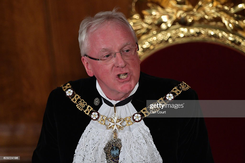 The Lord Mayor of London, Andrew Parmley, makes his speech during the Lord Mayor's Banquet at Guildhall on November 14, 2016 in London, England. The Lord Mayor of London, Andrew Parmley, is hosting the annual Lord Mayor's Banquet in London's Guildhall which will feature speeches from the Prime Minister and the Archbishop of Canterbury. Andrew Parmley was recently elected 689th Lord Mayor of the City of London, a role that has been in existence since 1189.