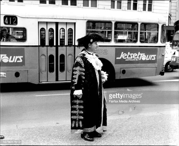 The Lord Mayor of London Sir Peter Gadsden waits at the bottom of the Town Hall steps in George St waiting for the rest of his partyThe Lord Mayor of...