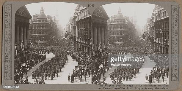 The Lord mayor of London takes the salute as British and Empire troops parade in the London Peace Pageant after World War One 19th July 1919