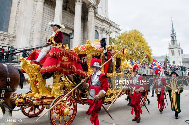 The Lord Mayor of London's State Coach drawn by six shire horses with Lord Mayor Elect William Russell the 692nd Lord Mayor of the City of London on...