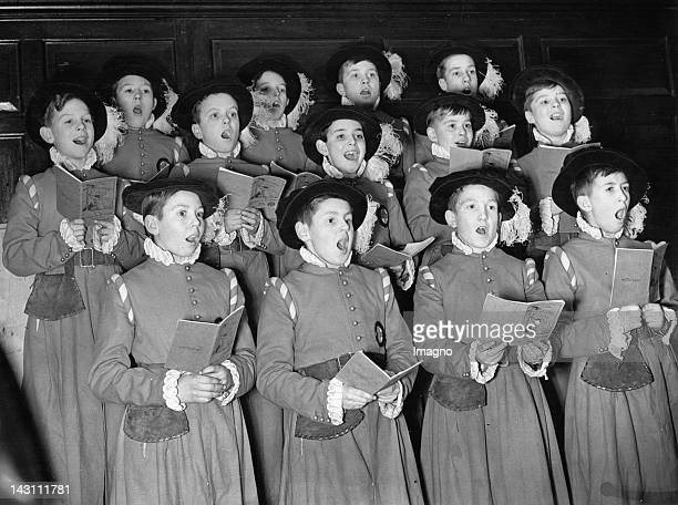 The Lord Mayor's Boy Players are rehearsing their Christmas carols London United Kingdom Photograph December 9 1936