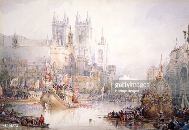 'The Lord Mayor's Show at Westminster' 1830 The Lord Mayor's procession along the River Thames showing the City State Barge with Westminster Abbey...