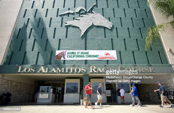 The Los Alamitos Race Course where California Chrome is headquartered holds a party on Saturday to watch Chrome race for the Triple Crown in the...