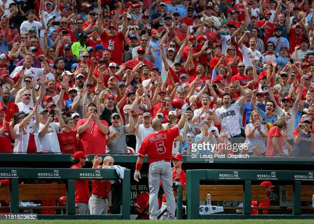 The Los Angeles Angels' Albert Pujols acknowledges the crowd with a curtain call after hitting a solo home run against the St Louis Cardinals at...