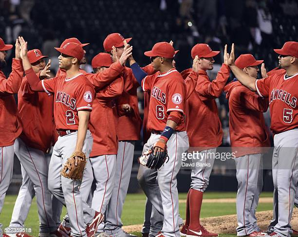 The Los Angeles Angels of Anaheim celebrate their win against the Chicago White Sox on April 18 2016 at U S Cellular Field in Chicago IllinoisThe...