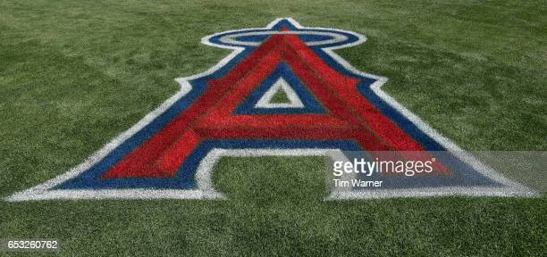 The Los Angeles Angels of Anaheim logo on the turf during a spring training game at Tempe Diablo Stadium on March 06 2017 in Tempe Arizona 'n'n