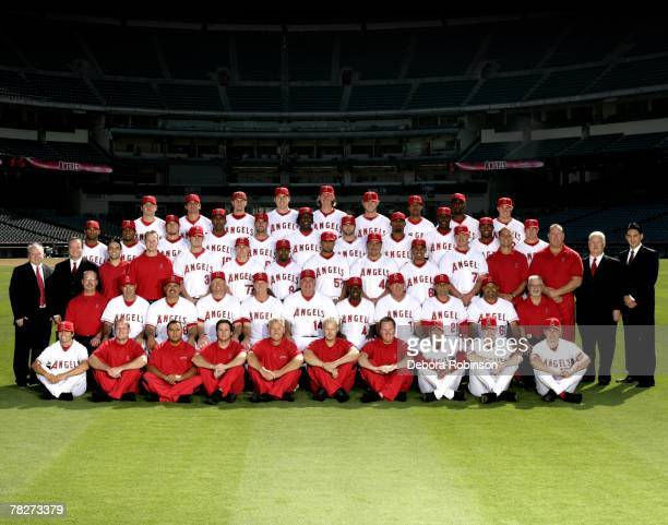 The Los Angeles Angels of Anaheim pose for a team photo at Angel Stadium in Anaheim California on August 23 2007