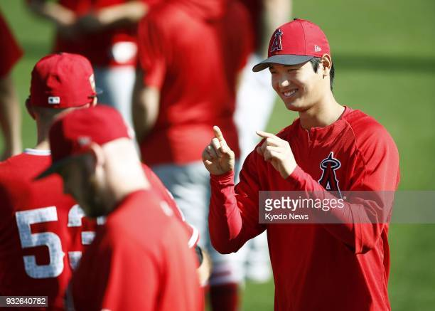 The Los Angeles Angels' Shohei Ohtani smiles before practice in Tempe Arizona on March 15 2018 ==Kyodo