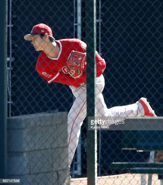 The Los Angeles Angels' Shohei Ohtani throws in the bullpen in Tempe Arizona on March 14 2018 ==Kyodo