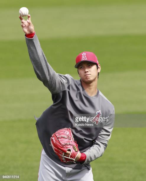The Los Angeles Angels' Shohei Otani practices at the Oakland Coliseum in Oakland California on March 31 2018 ==Kyodo