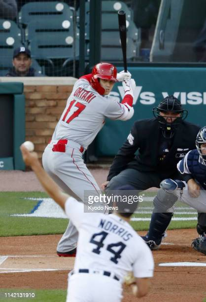The Los Angeles Angels' two-way player Shohei Ohtani bats in the first inning of a game against the Detroit Tigers on May 7 in Detroit. Ohtani was...