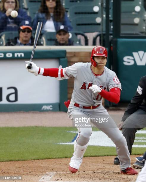 The Los Angeles Angels' two-way player Shohei Ohtani hits an RBI groundout in the third inning of a game against the Detroit Tigers on May 7 in...