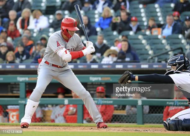 The Los Angeles Angels' two-way player Shohei Ohtani is called out on strikes in the first inning of a game against the Detroit Tigers on May 7 in...
