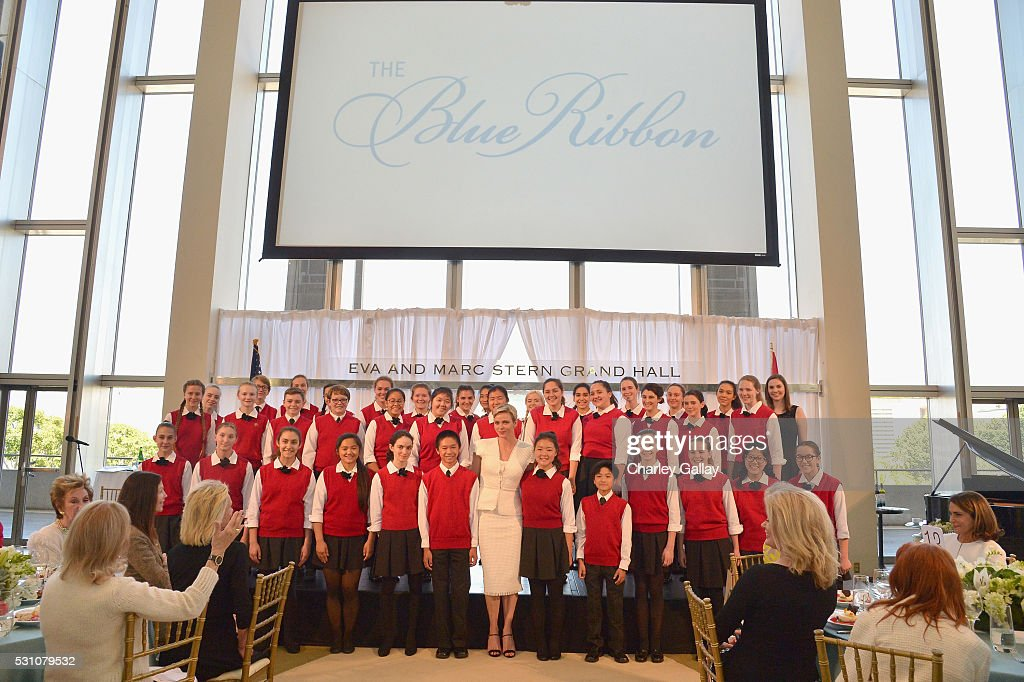 The Los Angeles Children's Chorus perform onstage during the Blue Ribbon of the Los Angeles Music Center to honor Princess Charlene of Monaco at Grand Hall at the Dorothy Chandler Pavililon on May 12, 2016 in Los Angeles, California.