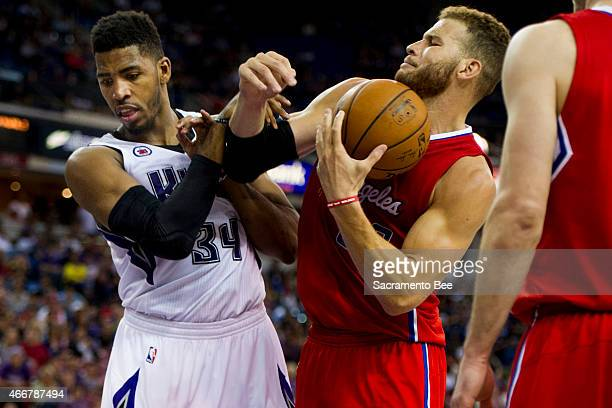 The Los Angeles Clippers' Blake Griffin throws an elbow at the Sacramento Kings' Jason Thompson on Wednesday, March 18 at Sleep Train Arena in...
