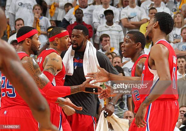 The Los Angeles Clippers celebrate after defeating the Memphis Grizzlies in Game Seven of the Western Conference Quarterfinals during the 2012 NBA...