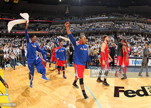 The Los Angeles Clippers celebrate after winning Game Seven of the Western Conference Quarterfinals against the Memphis Grizzlies during the 2012 NBA...