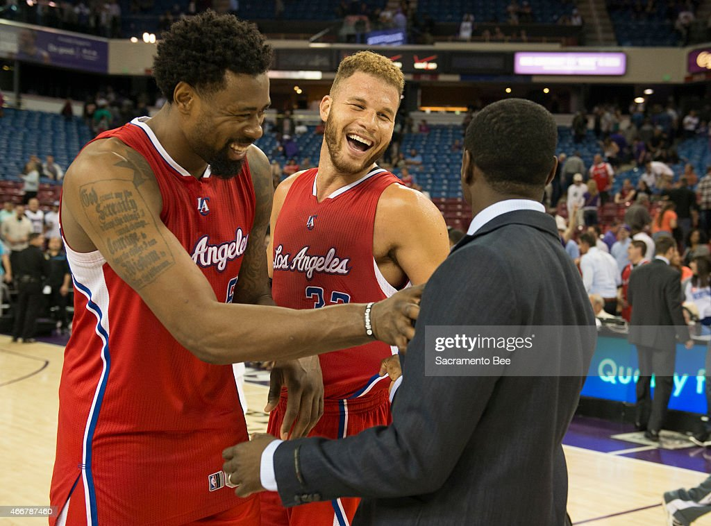 La clippers at sacramento pictures getty images the los angeles clippers deandre jordan left and blake griffin meet with the m4hsunfo