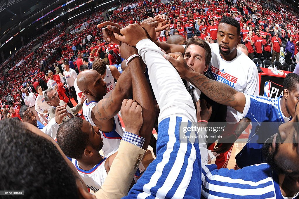 The Los Angeles Clippers huddle during the game against the Memphis Grizzlies at Staples Center in Game Two of the Western Conference Quarterfinals during the 2013 NBA Playoffs on April 22, 2013 in Los Angeles, California.