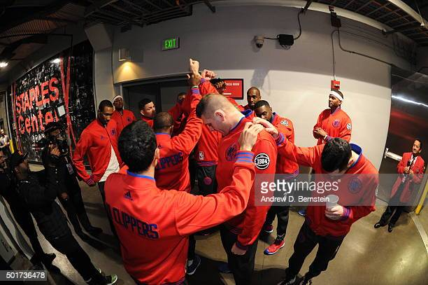 The Los Angeles Clippers huddle up before the game against the Milwaukee Bucks at STAPLES Center on December 16 2015 in Los Angeles California NOTE...