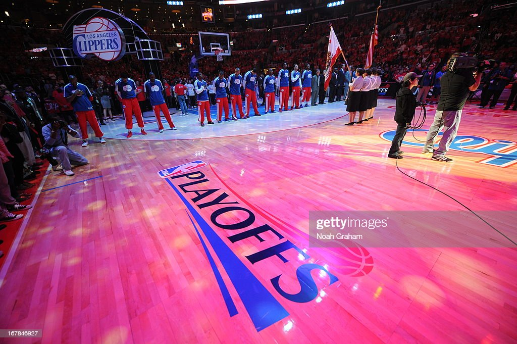 The Los Angeles Clippers line up before the game against the Memphis Grizzlies at Staples Center in Game Five of the Western Conference Quarterfinals during the 2013 NBA Playoffs on April 30, 2013 in Los Angeles, California.