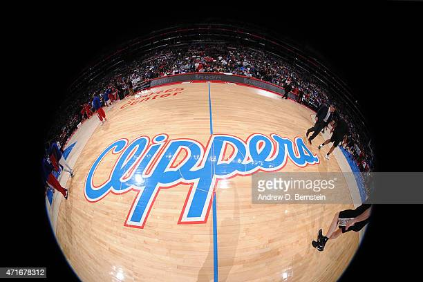 The Los Angeles Clippers logo before a game against the San Antonio Spurs in Game Five of the Western Conference Quarterfinals during the 2015 NBA...