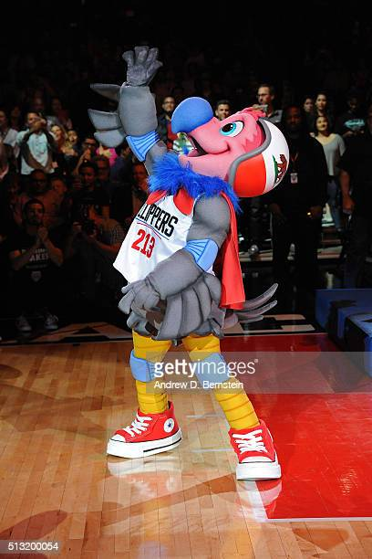 The Los Angeles Clippers mascot Chuck is revealed to the crowd during the game against the Brooklyn Nets at STAPLES Center on February 29 2016 in Los...