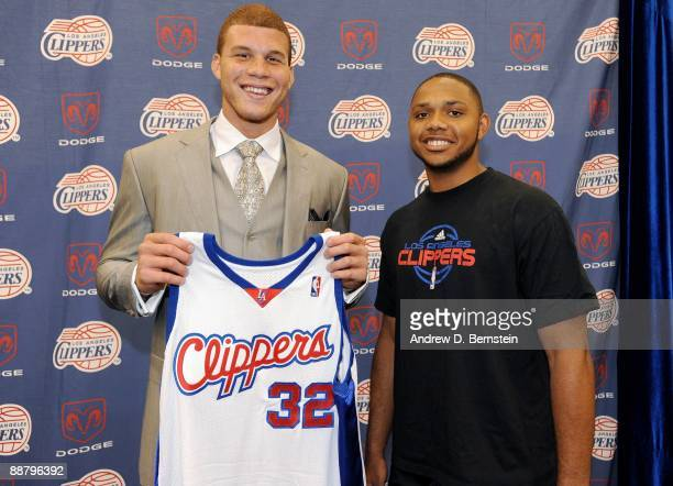 The Los Angeles Clippers number one draft pick Blake Griffin from the University of Oklahoma poses for a photo with current Clippers player Eric...