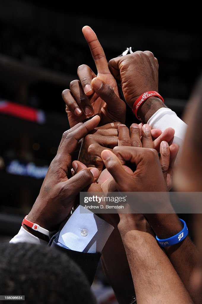 The Los Angeles Clippers team huddle before the game against the Phoenix Suns at Staples Center on December 8, 2012 in Los Angeles, California.